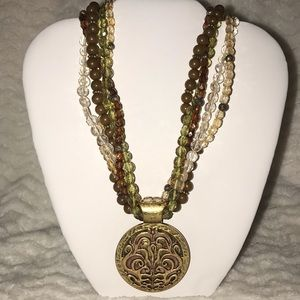 The avenue 5 strand chunky beaded pendant necklace
